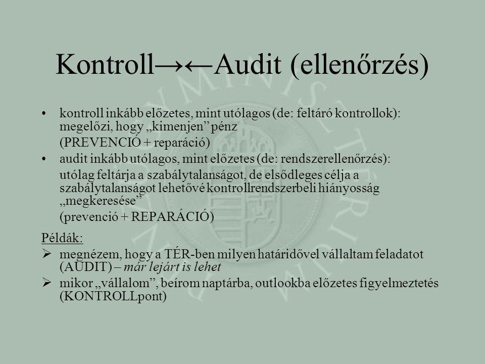 Kontroll→←Audit (ellenőrzés)