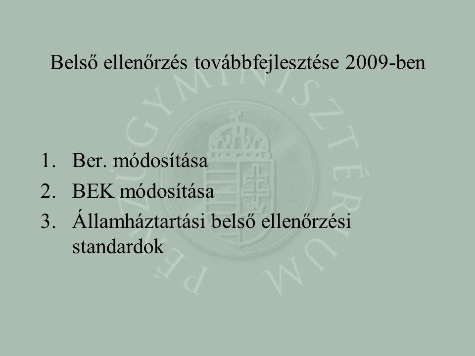 Belső ellenőrzés továbbfejlesztése 2009-ben