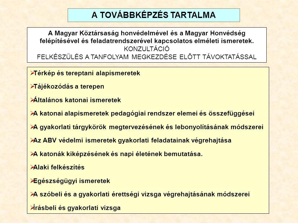 A TOVÁBBKÉPZÉS TARTALMA
