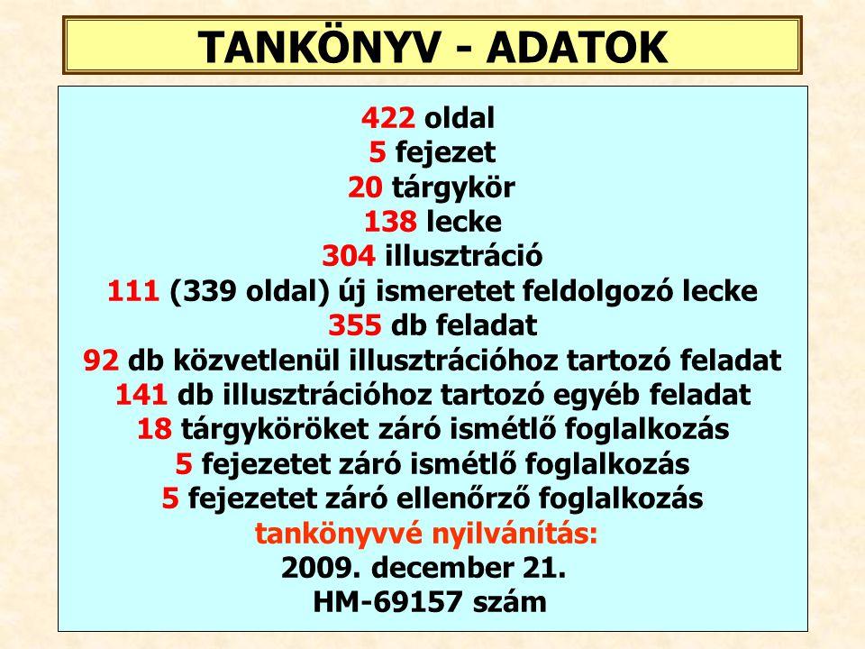 TANKÖNYV - ADATOK 422 oldal 5 fejezet 20 tárgykör 138 lecke
