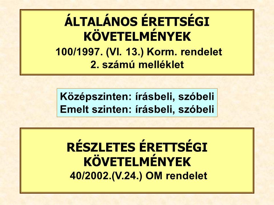 RÉSZLETES ÉRETTSÉGI KÖVETELMÉNYEK 40/2002.(V.24.) OM rendelet