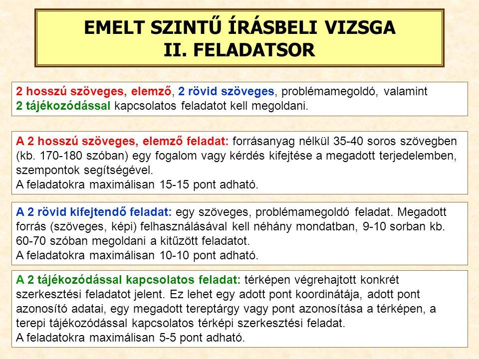 EMELT SZINTŰ ÍRÁSBELI VIZSGA II. FELADATSOR