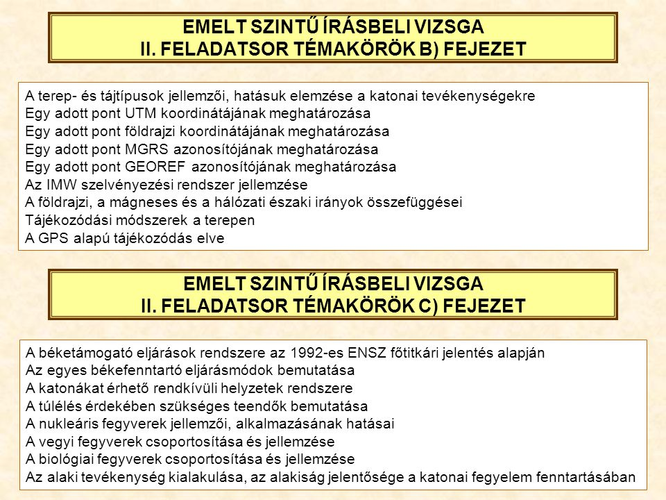 EMELT SZINTŰ ÍRÁSBELI VIZSGA II. FELADATSOR TÉMAKÖRÖK B) FEJEZET