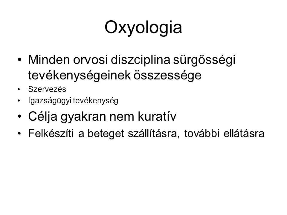 Oxyologia Minden orvosi diszciplina sürgősségi tevékenységeinek összessége. Szervezés. Igazságügyi tevékenység.