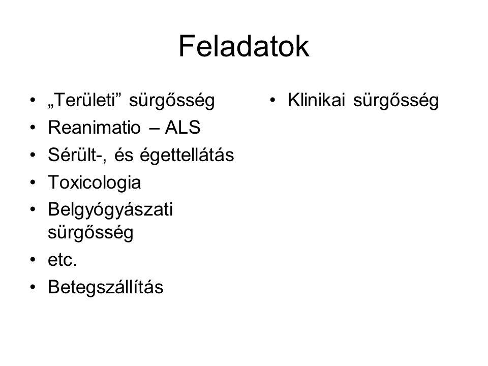 """Feladatok """"Területi sürgősség Reanimatio – ALS"""