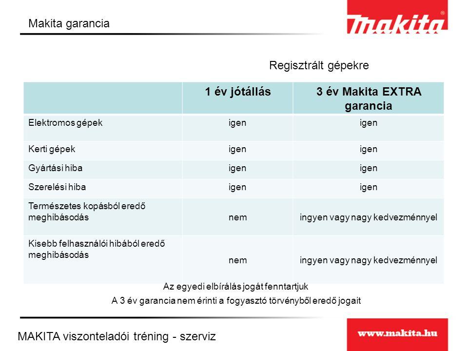 3 év Makita EXTRA garancia