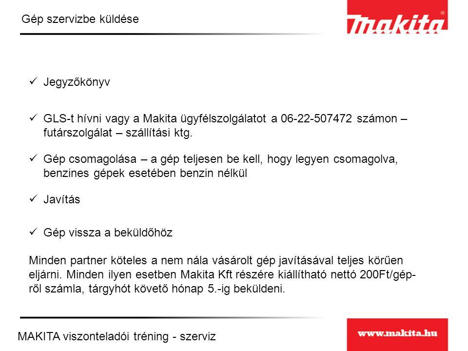 Gép szervizbe küldése Jegyzőkönyv. GLS-t hívni vagy a Makita ügyfélszolgálatot a 06-22-507472 számon – futárszolgálat – szállítási ktg.