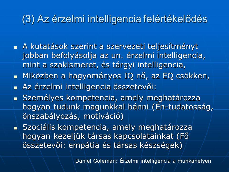 (3) Az érzelmi intelligencia felértékelődés