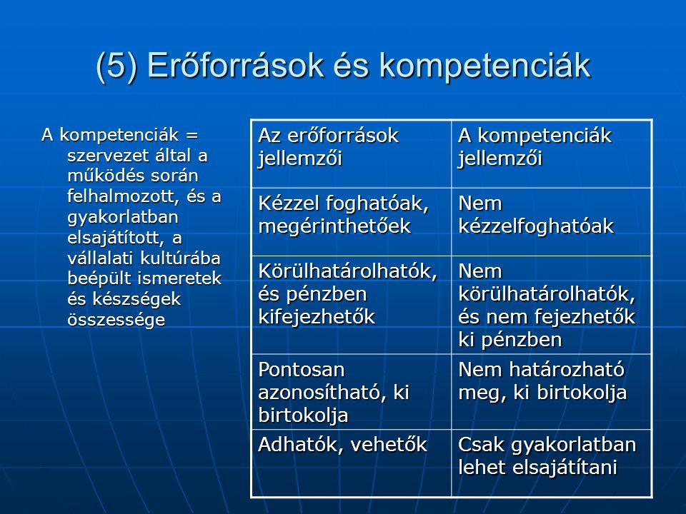 (5) Erőforrások és kompetenciák