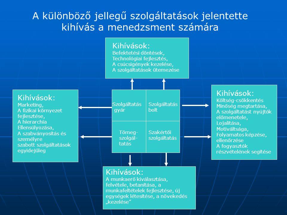 A különböző jellegű szolgáltatások jelentette kihívás a menedzsment számára