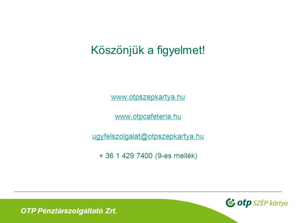 Köszönjük a figyelmet! www.otpszepkartya.hu