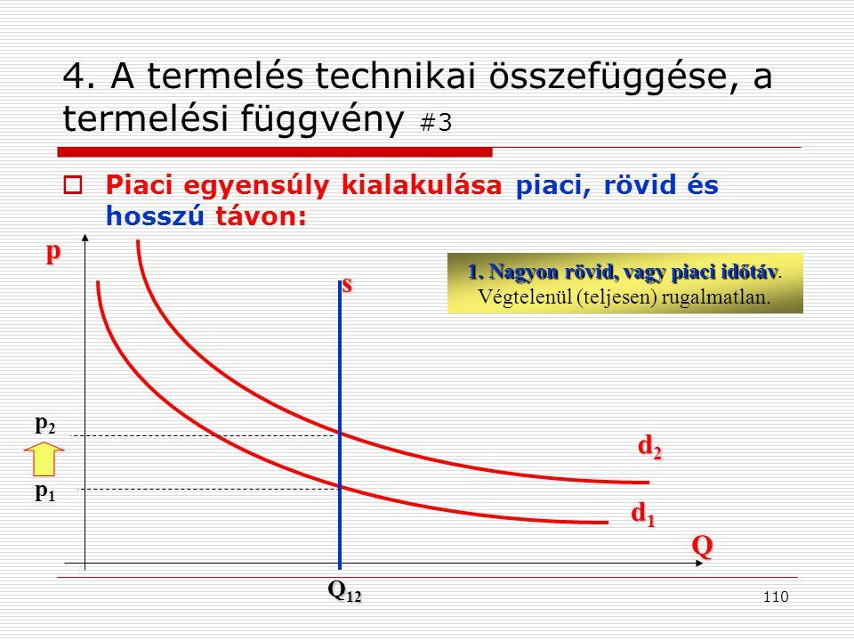 4. A termelés technikai összefüggése, a termelési függvény #3