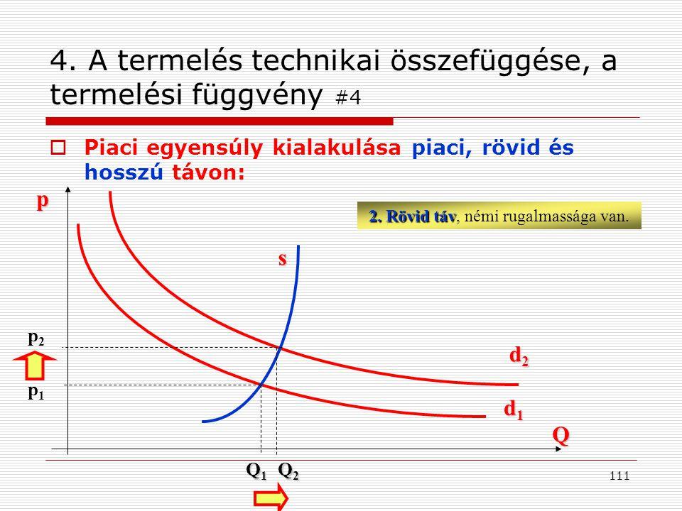 4. A termelés technikai összefüggése, a termelési függvény #4