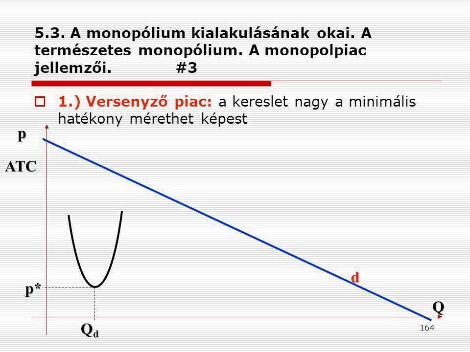 5. 3. A monopólium kialakulásának okai. A természetes monopólium