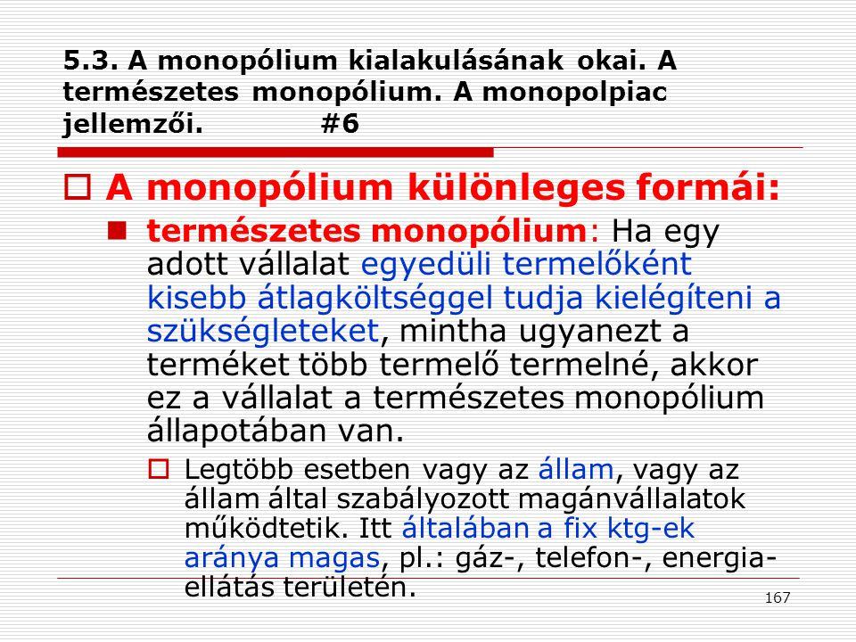A monopólium különleges formái: