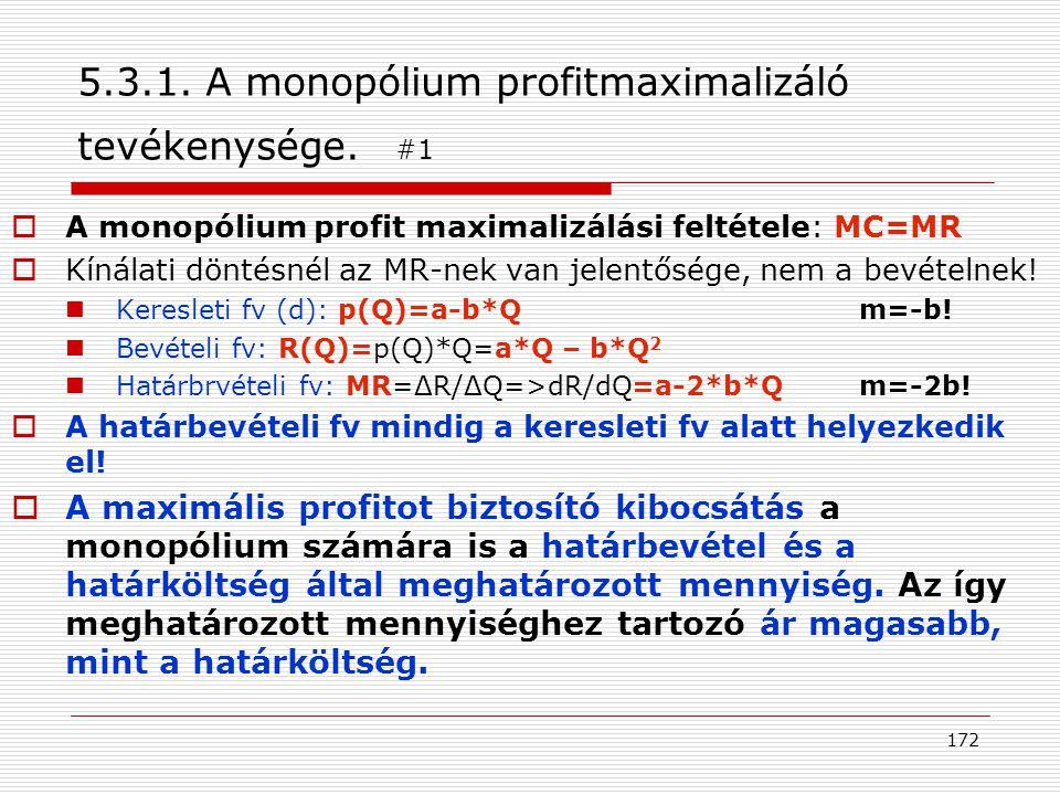 5.3.1. A monopólium profitmaximalizáló tevékenysége. #1