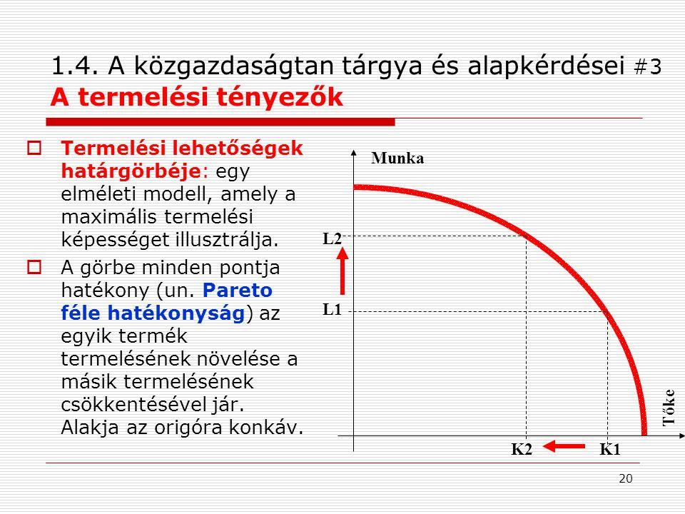 1.4. A közgazdaságtan tárgya és alapkérdései #3 A termelési tényezők