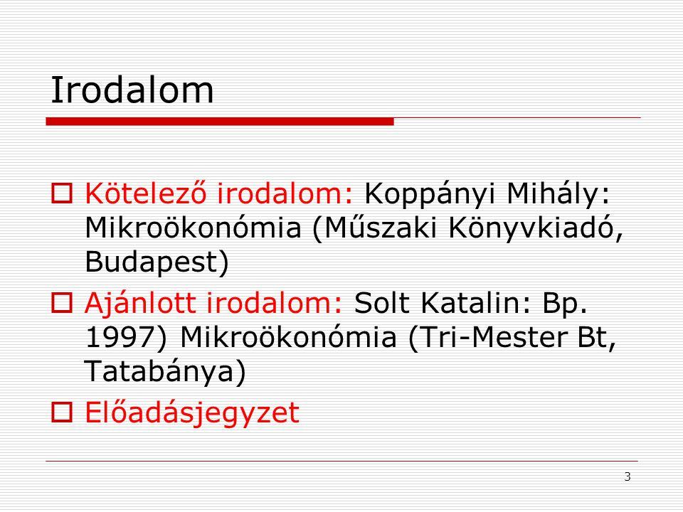 Irodalom Kötelező irodalom: Koppányi Mihály: Mikroökonómia (Műszaki Könyvkiadó, Budapest)