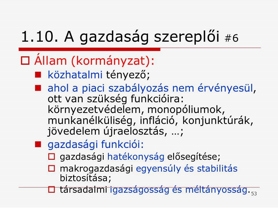 1.10. A gazdaság szereplői #6 Állam (kormányzat): közhatalmi tényező;