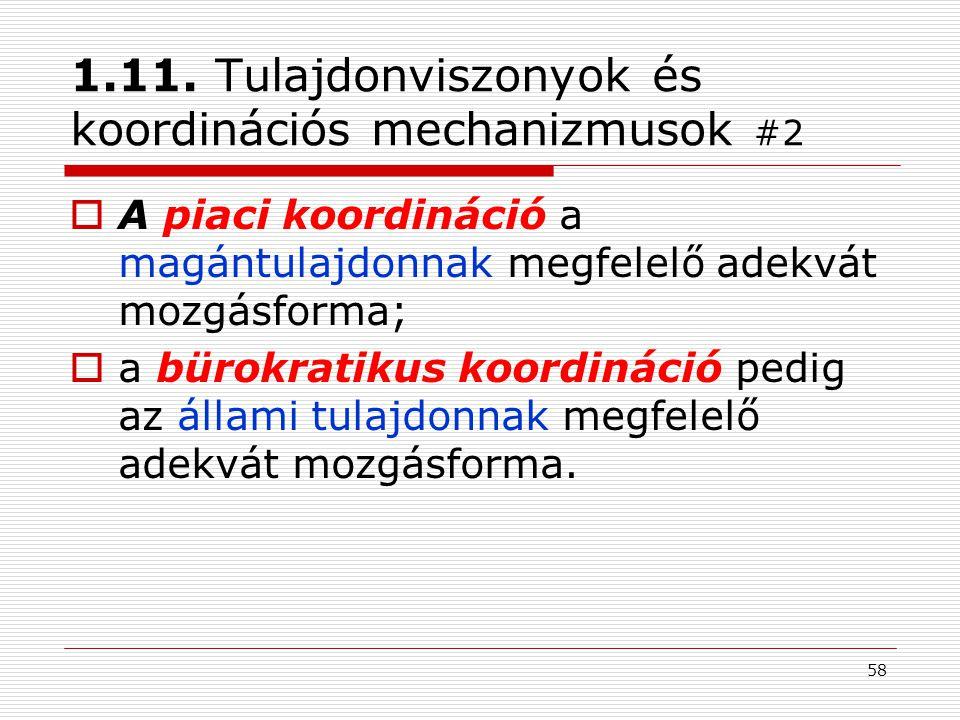 1.11. Tulajdonviszonyok és koordinációs mechanizmusok #2