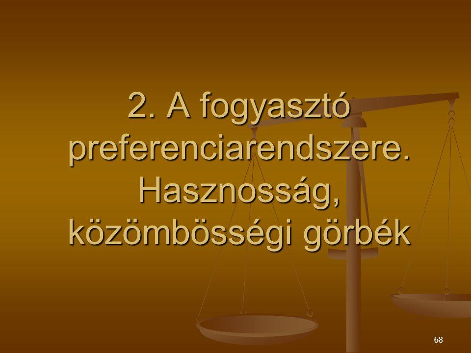 2. A fogyasztó preferenciarendszere. Hasznosság, közömbösségi görbék