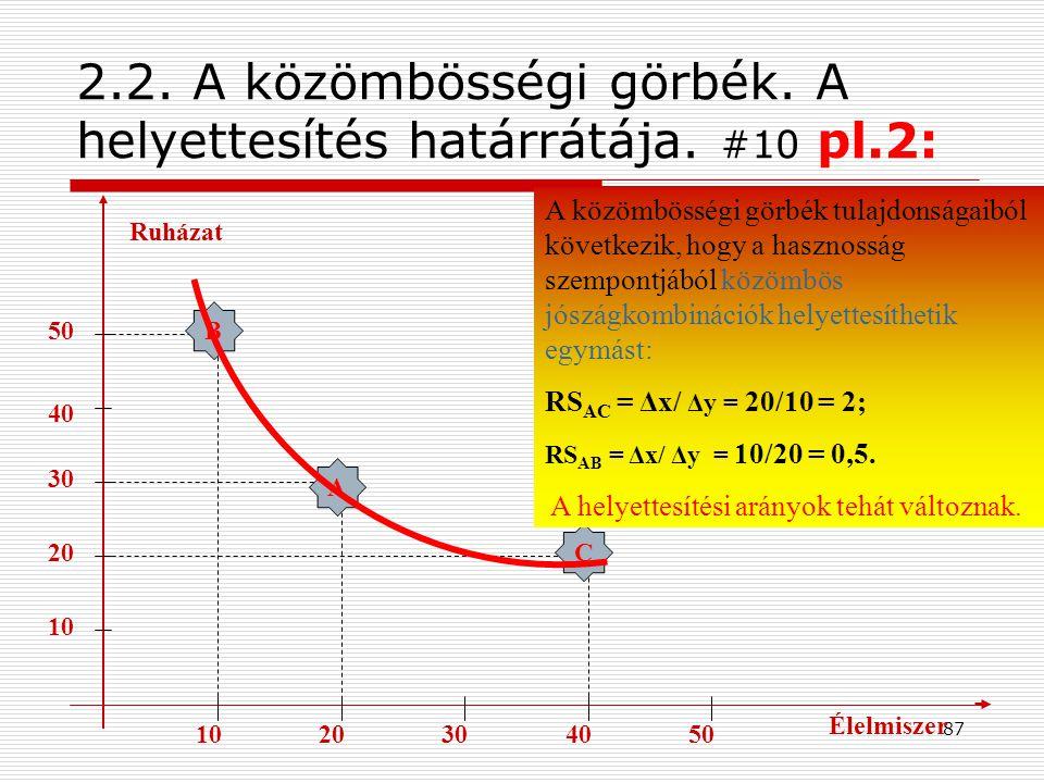 2.2. A közömbösségi görbék. A helyettesítés határrátája. #10 pl.2: