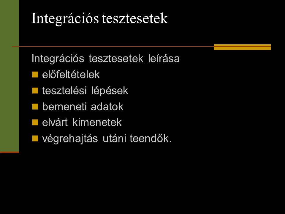 Integrációs tesztesetek
