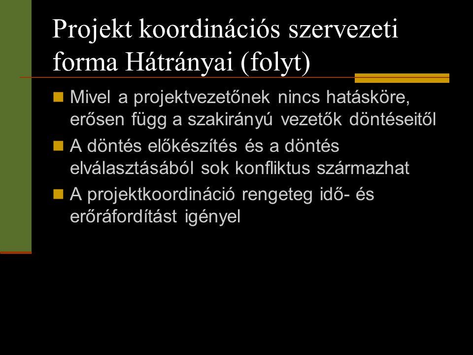 Projekt koordinációs szervezeti forma Hátrányai (folyt)