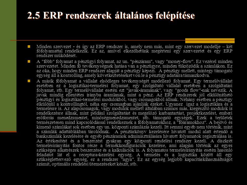 2.5 ERP rendszerek általános felépítése