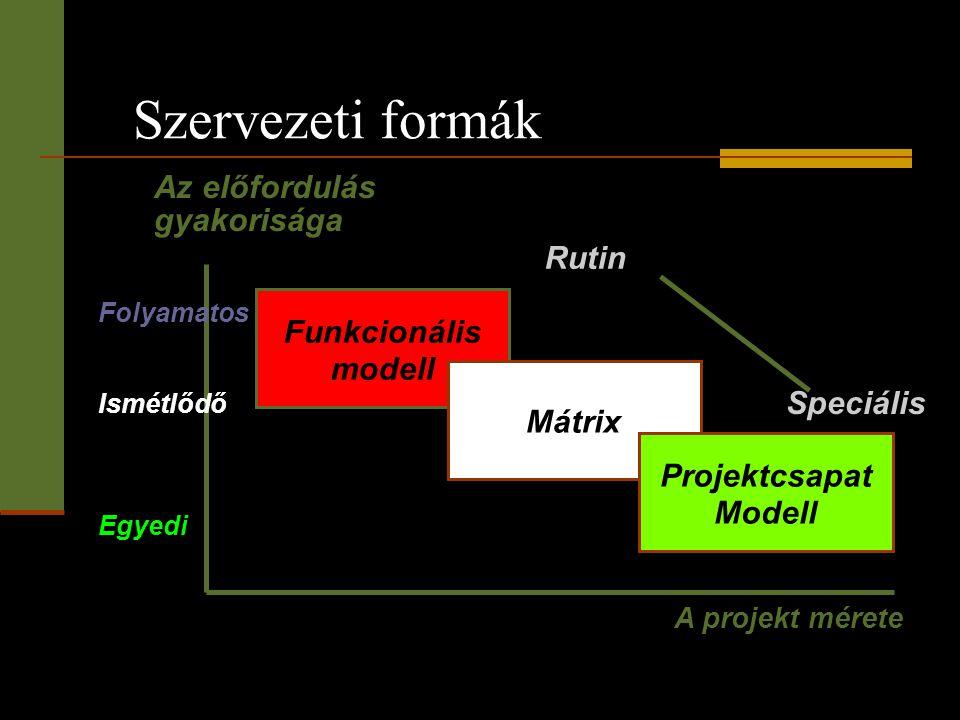 Szervezeti formák Az előfordulás gyakorisága Rutin Funkcionális modell