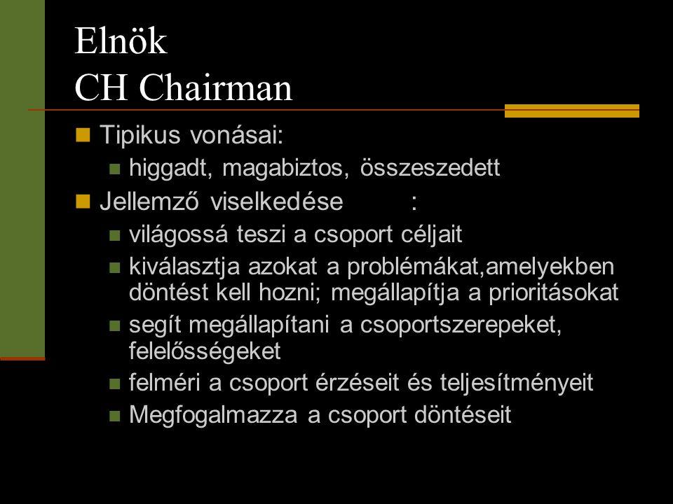 Elnök CH Chairman Tipikus vonásai: Jellemző viselkedése :