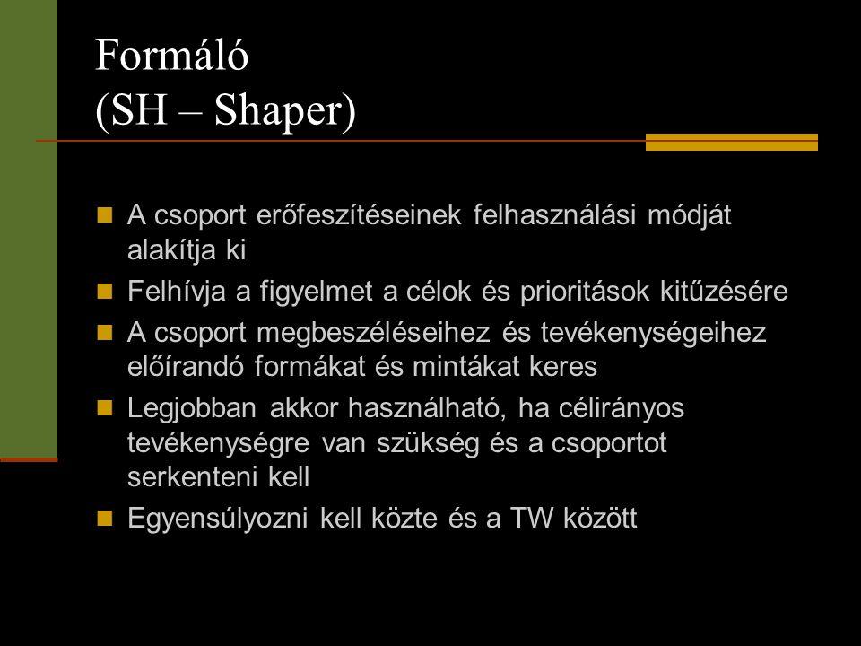 Formáló (SH – Shaper) A csoport erőfeszítéseinek felhasználási módját alakítja ki. Felhívja a figyelmet a célok és prioritások kitűzésére.
