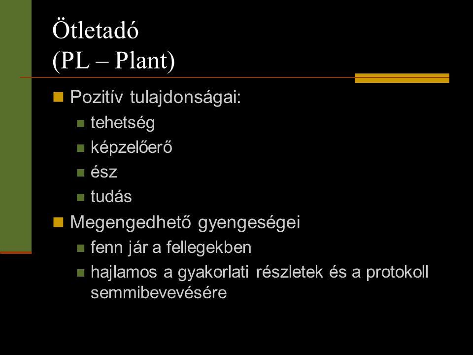 Ötletadó (PL – Plant) Pozitív tulajdonságai: Megengedhető gyengeségei