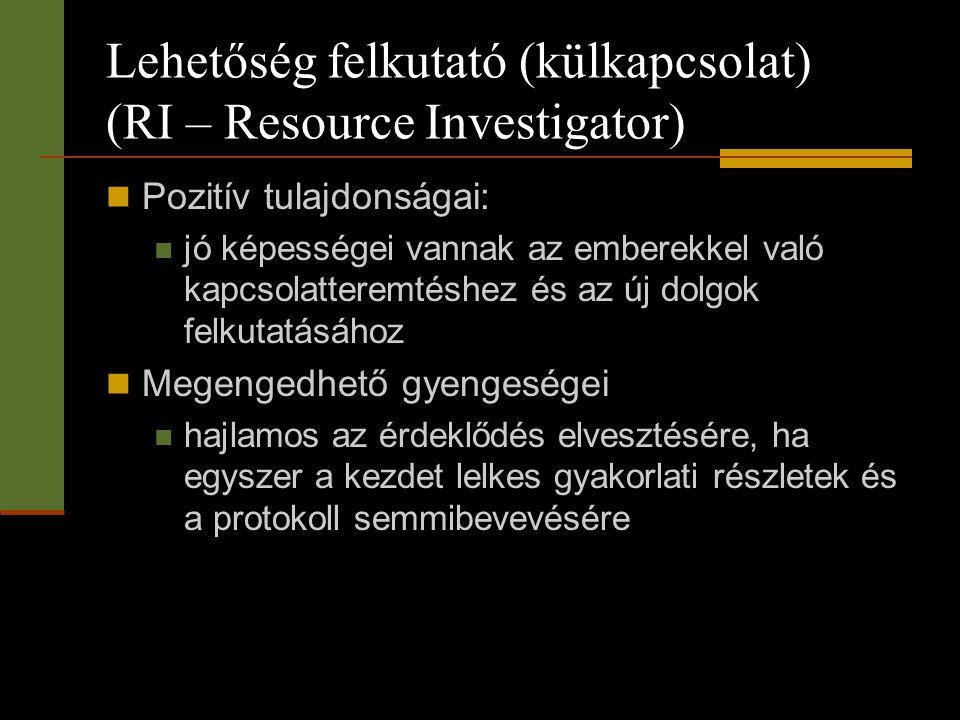 Lehetőség felkutató (külkapcsolat) (RI – Resource Investigator)