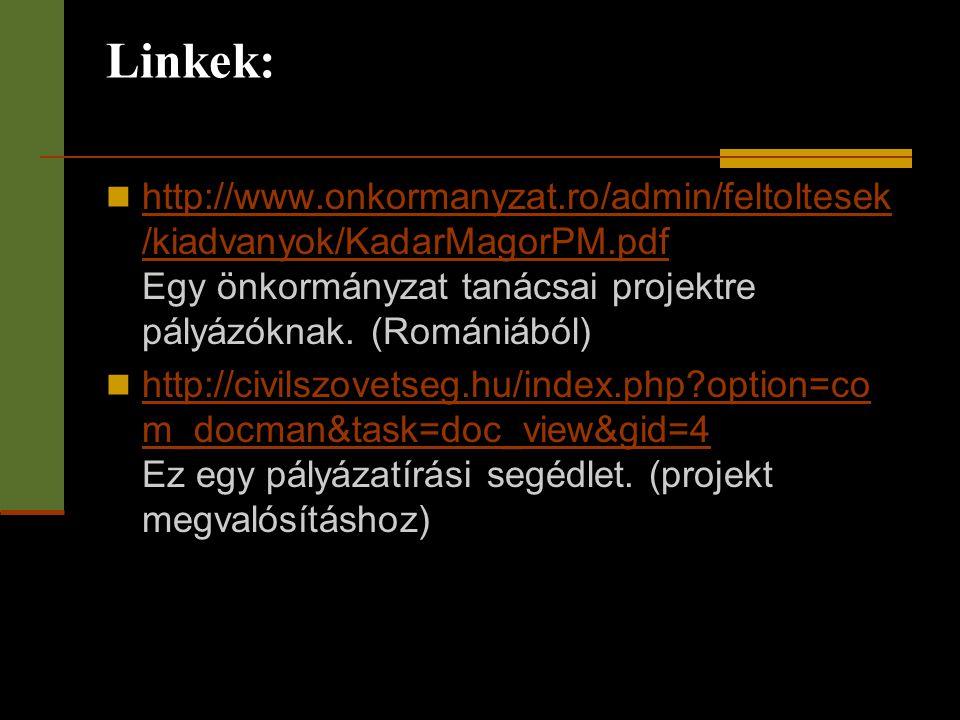 Linkek: http://www.onkormanyzat.ro/admin/feltoltesek/kiadvanyok/KadarMagorPM.pdf Egy önkormányzat tanácsai projektre pályázóknak. (Romániából)