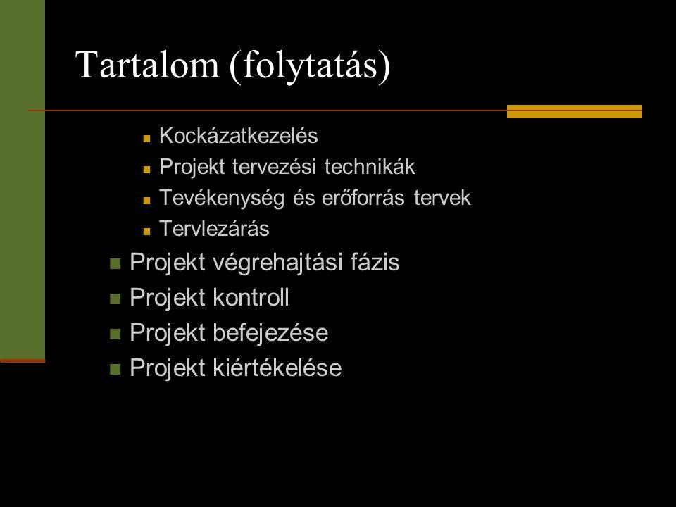 Tartalom (folytatás) Projekt végrehajtási fázis Projekt kontroll