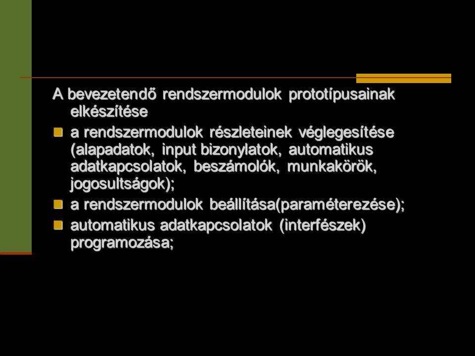 A bevezetendő rendszermodulok prototípusainak elkészítése