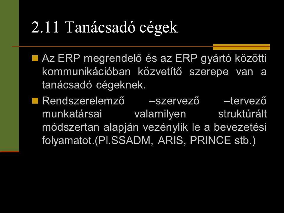 2.11 Tanácsadó cégek Az ERP megrendelő és az ERP gyártó közötti kommunikációban közvetítő szerepe van a tanácsadó cégeknek.