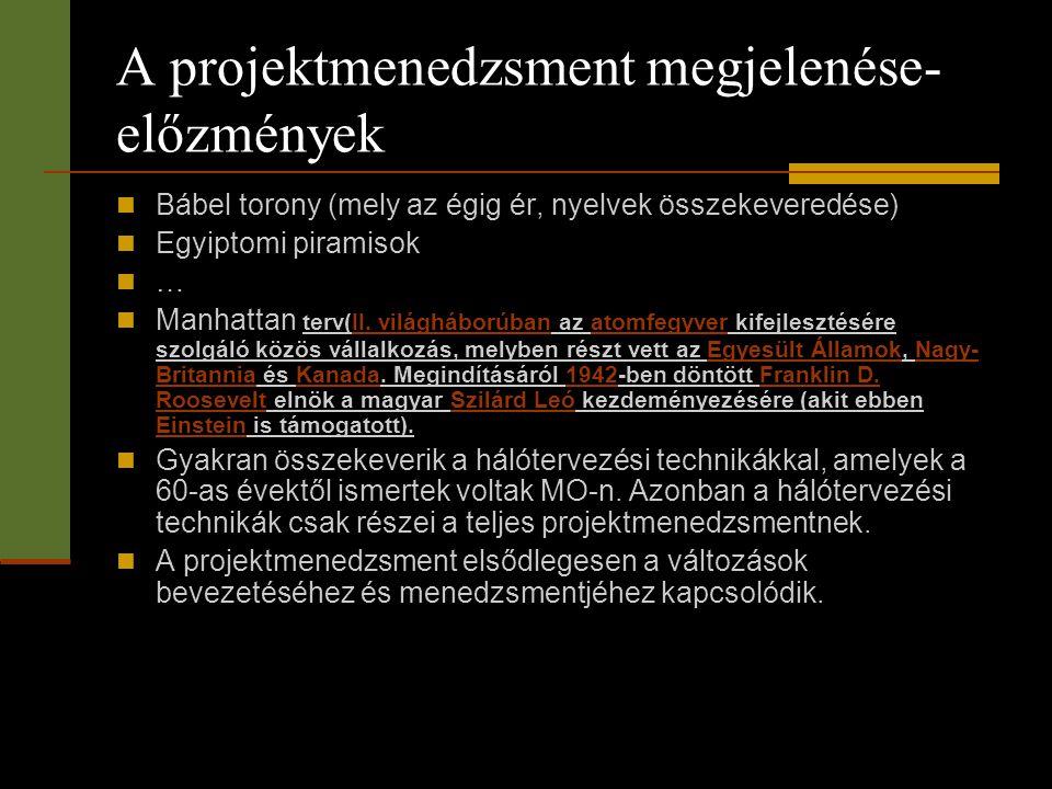 A projektmenedzsment megjelenése-előzmények