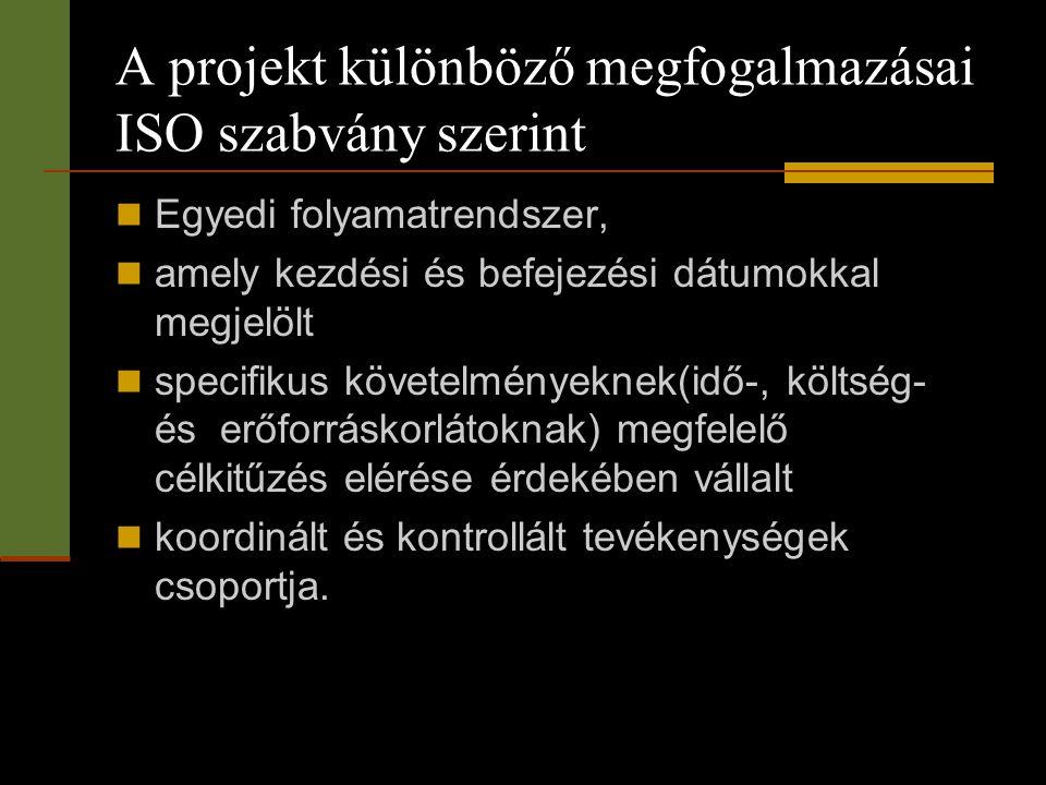 A projekt különböző megfogalmazásai ISO szabvány szerint