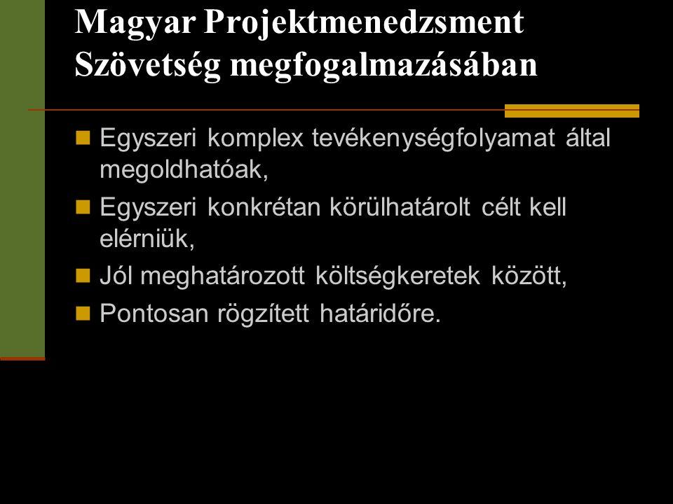 Magyar Projektmenedzsment Szövetség megfogalmazásában
