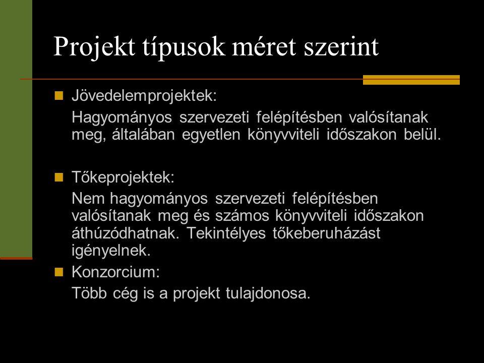 Projekt típusok méret szerint