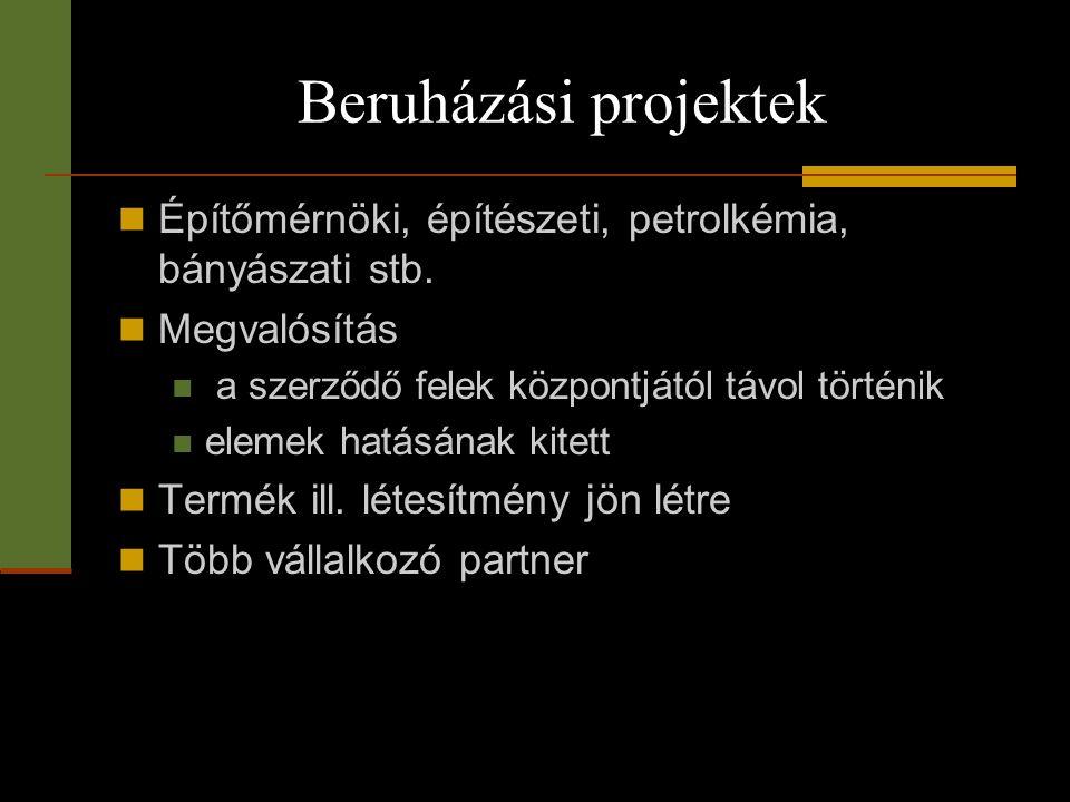 Beruházási projektek Építőmérnöki, építészeti, petrolkémia, bányászati stb. Megvalósítás. a szerződő felek központjától távol történik.