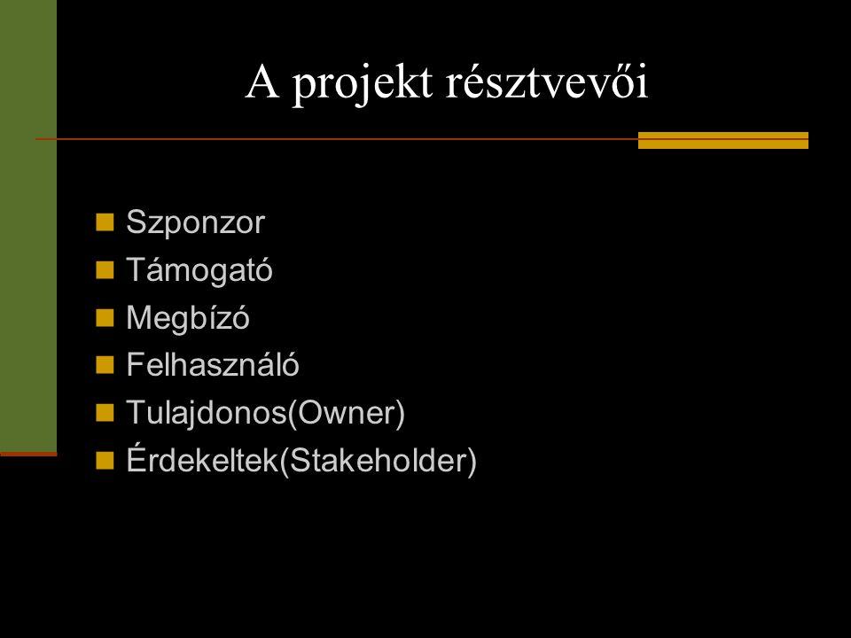 A projekt résztvevői Szponzor Támogató Megbízó Felhasználó