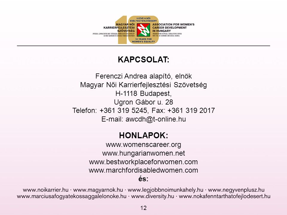 KAPCSOLAT: HONLAPOK: Ferenczi Andrea alapító, elnök