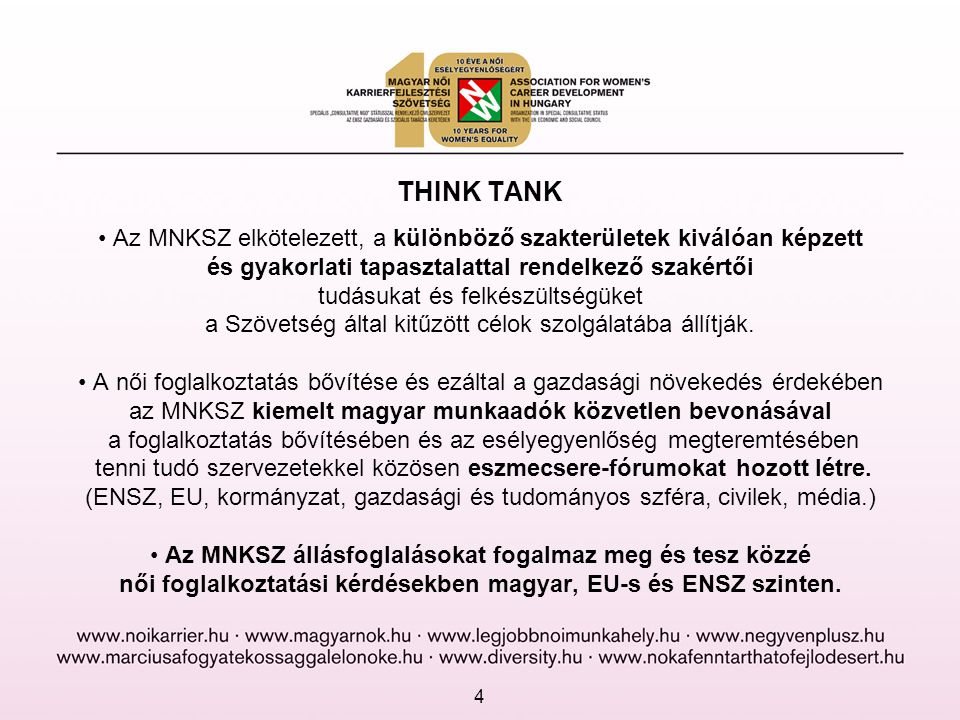 női foglalkoztatási kérdésekben magyar, EU-s és ENSZ szinten.
