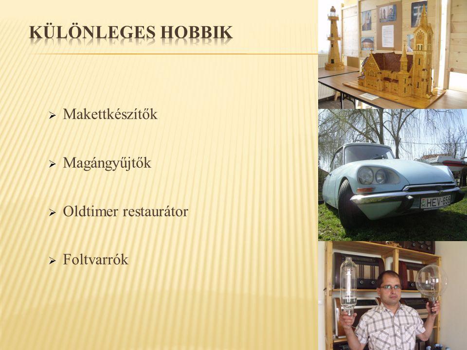 KÜLÖNLEGES HOBBIK Makettkészítők Magángyűjtők Oldtimer restaurátor