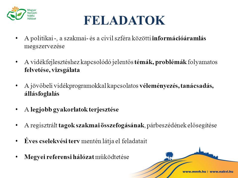 FELADATOK A politikai -, a szakmai- és a civil szféra közötti információáramlás megszervezése.