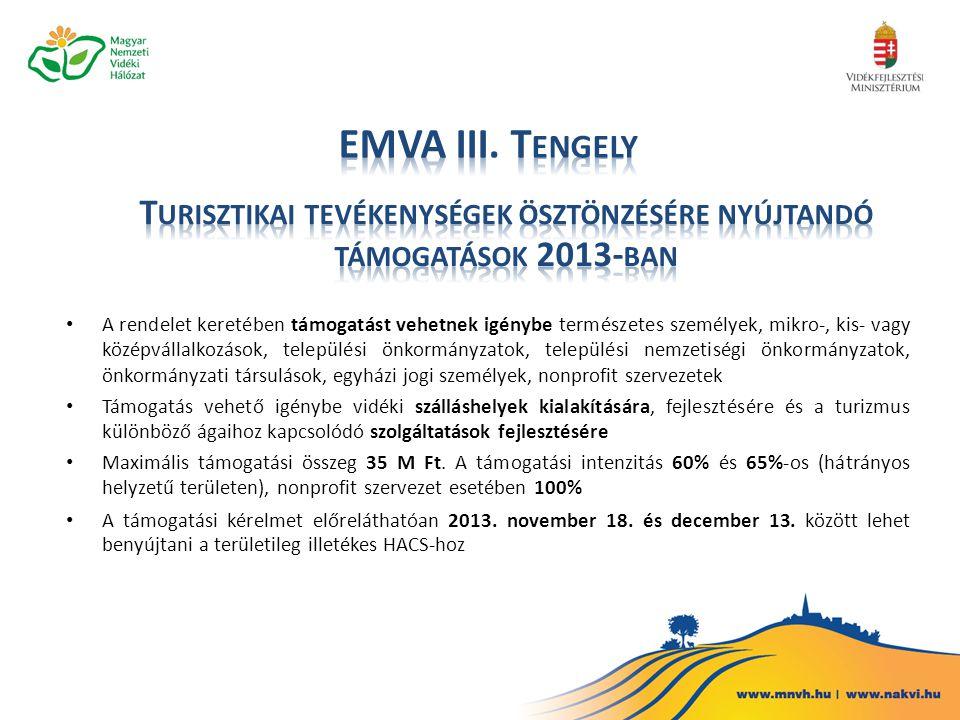 Turisztikai tevékenységek ösztönzésére nyújtandó támogatások 2013-ban