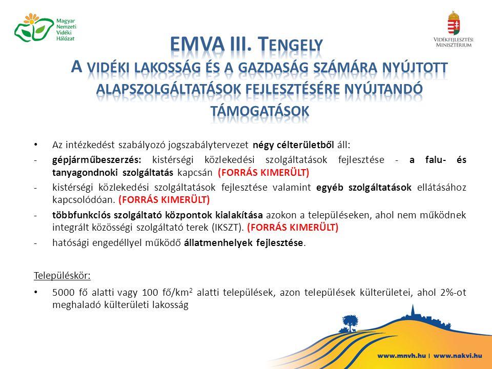 EMVA III. Tengely A vidéki lakosság és a gazdaság számára nyújtott alapszolgáltatások fejlesztésére nyújtandó támogatások.